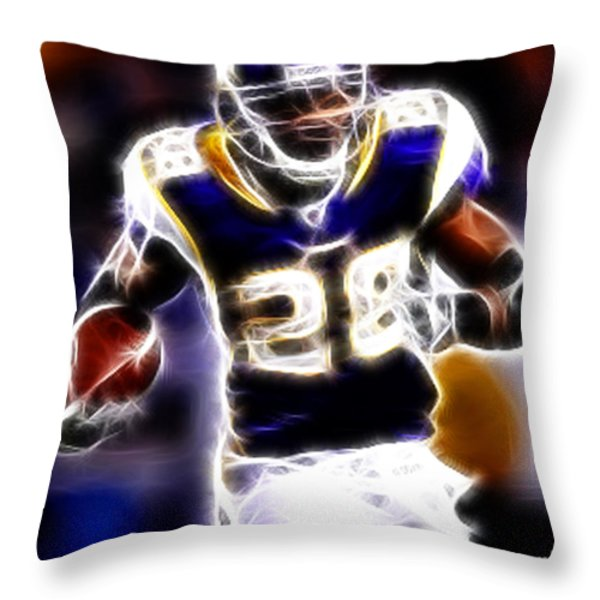 Adrian Peterson 01 - Football - Fantasy Throw Pillow by Paul Ward