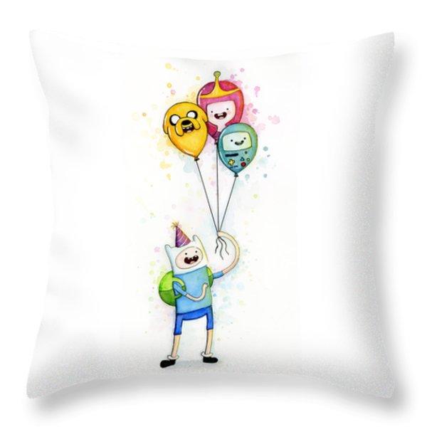 Adventure Time Finn With Birthday Balloons Jake Princess Bubblegum Bmo Throw Pillow by Olga Shvartsur