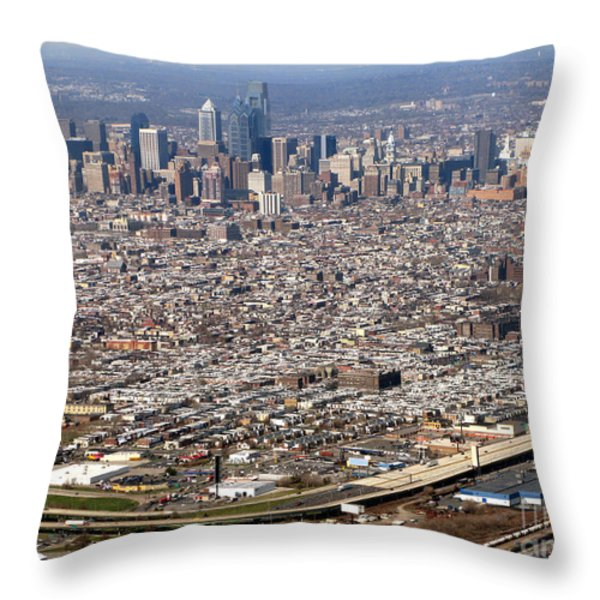 Aerial Philadelphia Throw Pillow by Olivier Le Queinec
