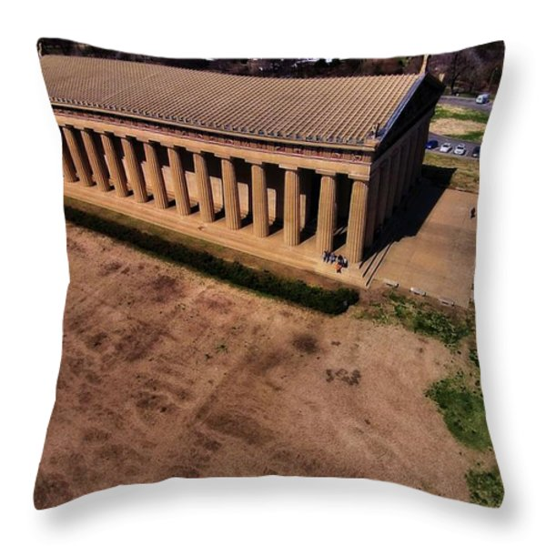 Aerial Photography Of The Parthenon Throw Pillow by Dan Sproul