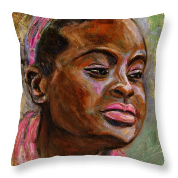 African American 3 Throw Pillow by Xueling Zou