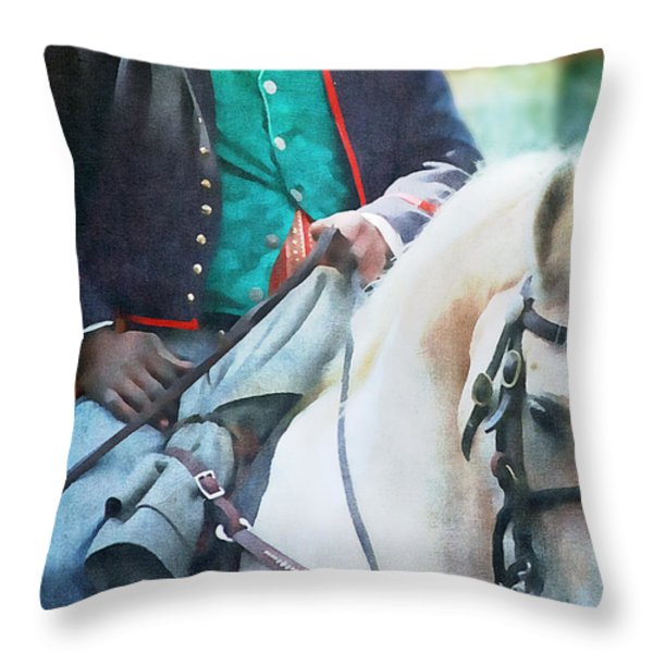 African American Soldier Throw Pillow by Stephanie Frey