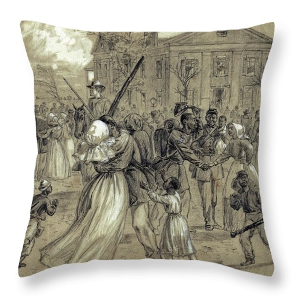 AFRICAN AMERICAN SOLDIERS return HOME from WAR - 1866 Throw Pillow by Daniel Hagerman