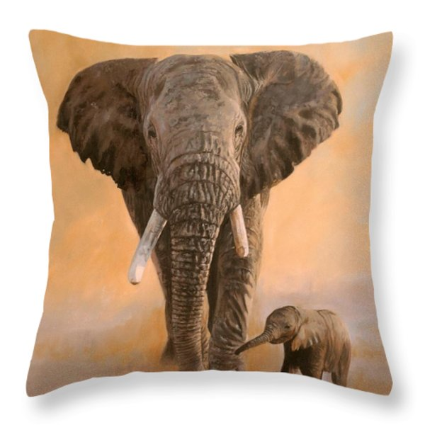 African Elephants Throw Pillow by David Stribbling