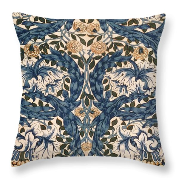 African Marigold Design Throw Pillow by William Morris