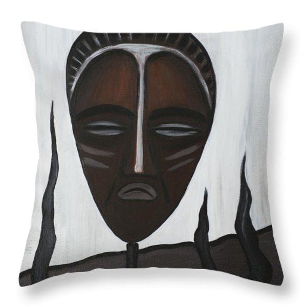 African Mask II Throw Pillow by Eva-Maria Becker