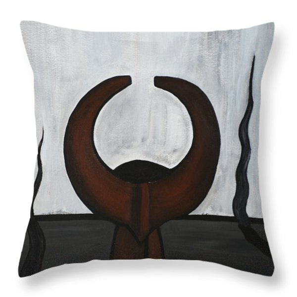 African Mask IIi Throw Pillow by Eva-Maria Becker