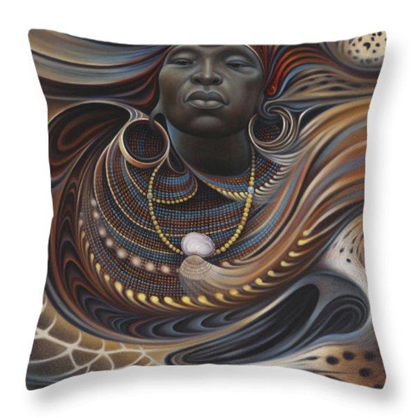African Spirits I Throw Pillow by Ricardo Chavez-Mendez