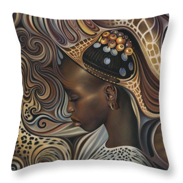 African Spirits II Throw Pillow by Ricardo Chavez-Mendez