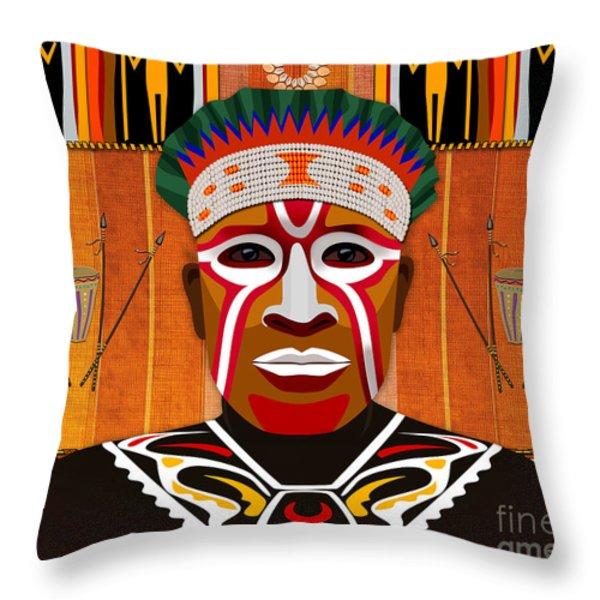African Tribesman 3 Throw Pillow by Bedros Awak