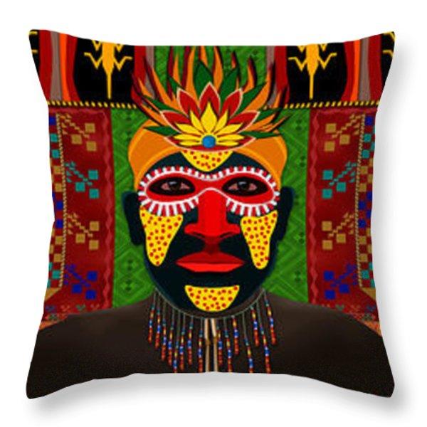 African Tribesmen Throw Pillow by Bedros Awak