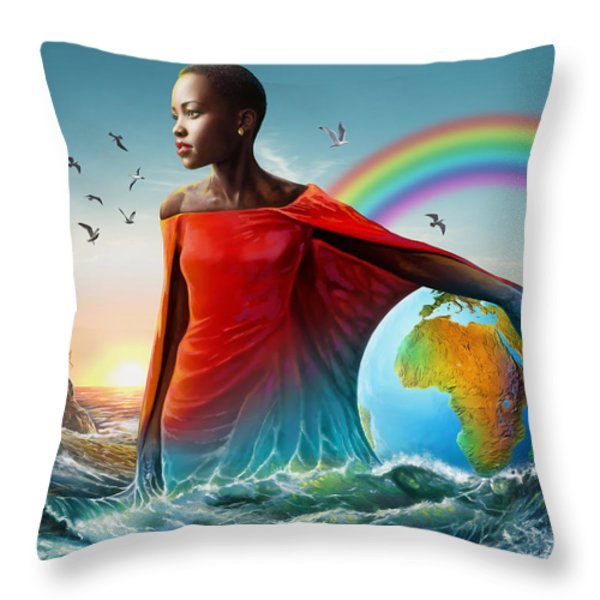 The Lupita Tsunami Throw Pillow by Anthony Mwangi