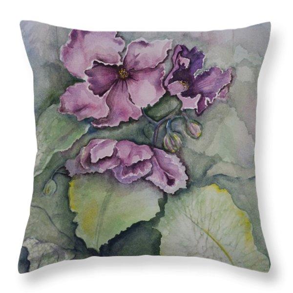African Violets Throw Pillow by Rebecca Matthews