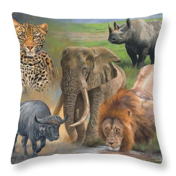 Africa's Big Five Throw Pillow by David Stribbling