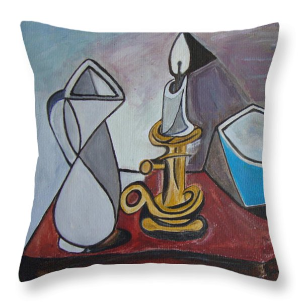 After Picasso Still Life With Casserole Throw Pillow by Veronica Rickard