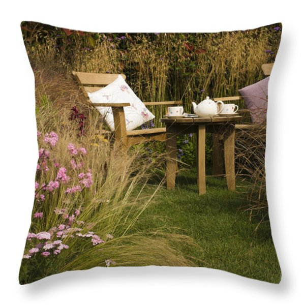 Afternoon Tea Throw Pillow by Anne Gilbert