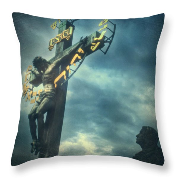 Agfacolor Jesus Throw Pillow by Taylan Soyturk
