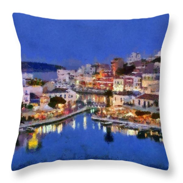 Painting Of Agios Nikolaos City Throw Pillow by George Atsametakis