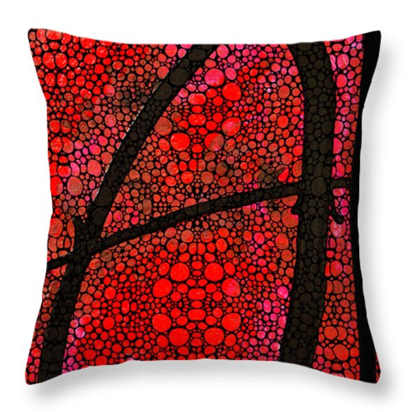 AH - Red Stone Rock'd Art by Sharon Cummings Throw Pillow by Sharon Cummings