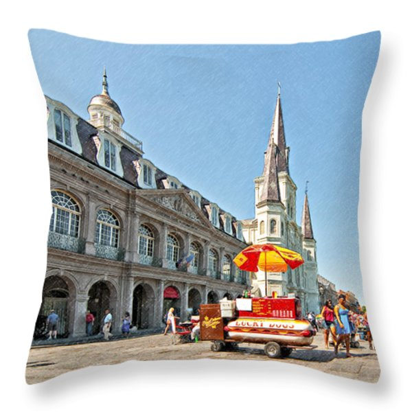 Ahh...New Orleans sketch Throw Pillow by Steve Harrington