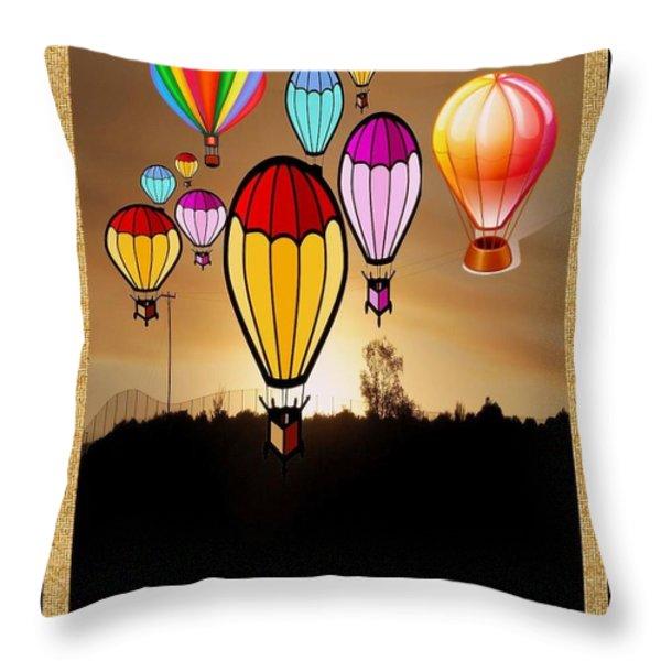 Air Balloons Reno Throw Pillow by Bobbee Rickard