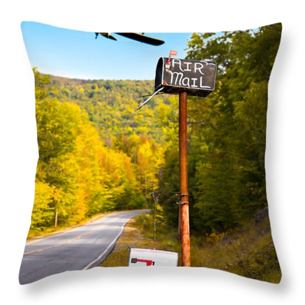 Air Mail Delivery Maine Style Throw Pillow by Bob Orsillo