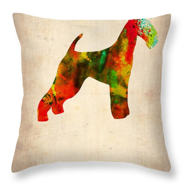 Airedale Terrier Poster Throw Pillow by Naxart Studio