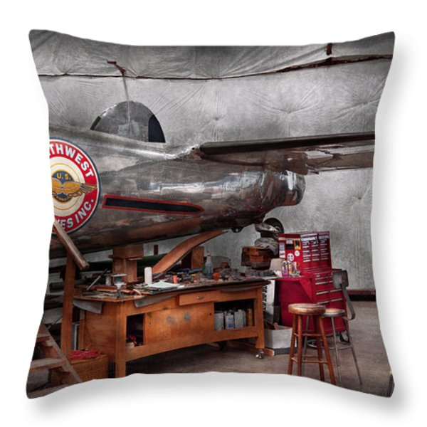 Airplane - The Repair Hanger Throw Pillow by Mike Savad