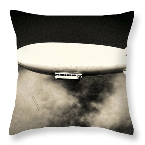 Airship Throw Pillow by Olivier Le Queinec