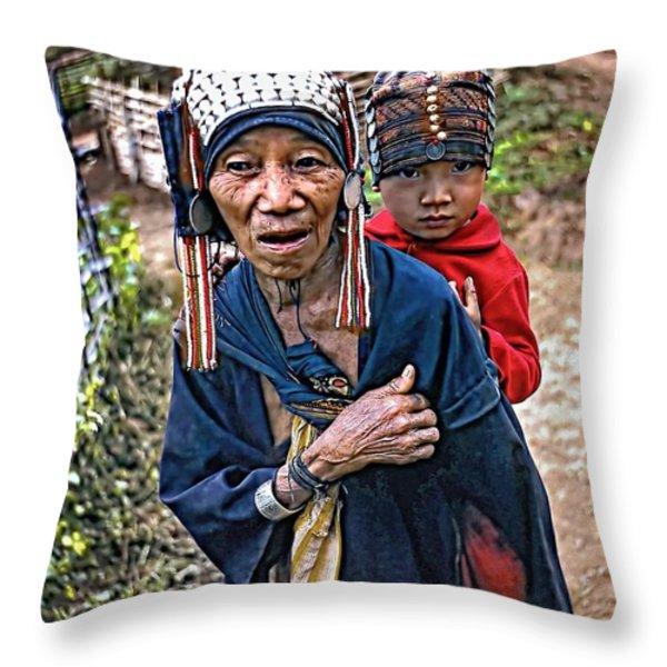 Akha Tribe II Throw Pillow by Steve Harrington