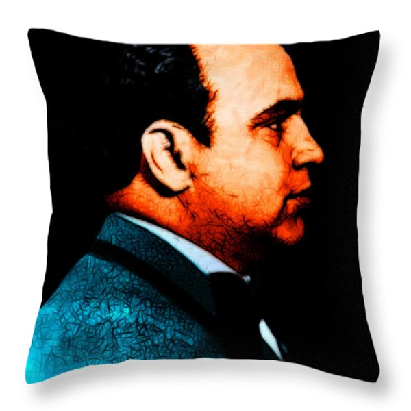 Al Capone C28169 - Black - Painterly Throw Pillow by Wingsdomain Art and Photography