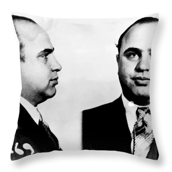 Al Capone Mug Shot Throw Pillow by Unknown