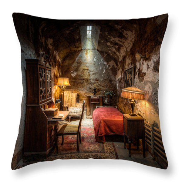 Al Capone's Cell - Historical Ruins At Eastern State Penitentiary - Gary Heller Throw Pillow by Gary Heller