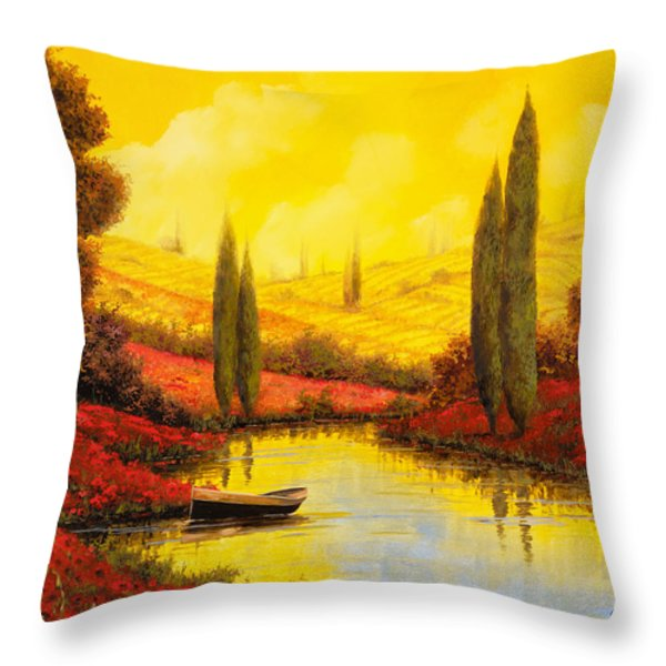 Al Tramonto Sul Torrente Throw Pillow by Guido Borelli