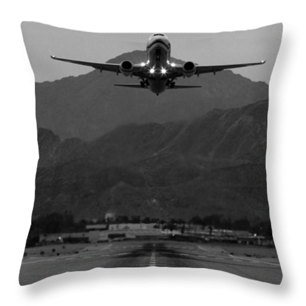 Alaska Airlines Palm Springs Takeoff Throw Pillow by John Daly