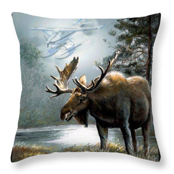 Alaska moose with floatplane Throw Pillow by Gina Femrite