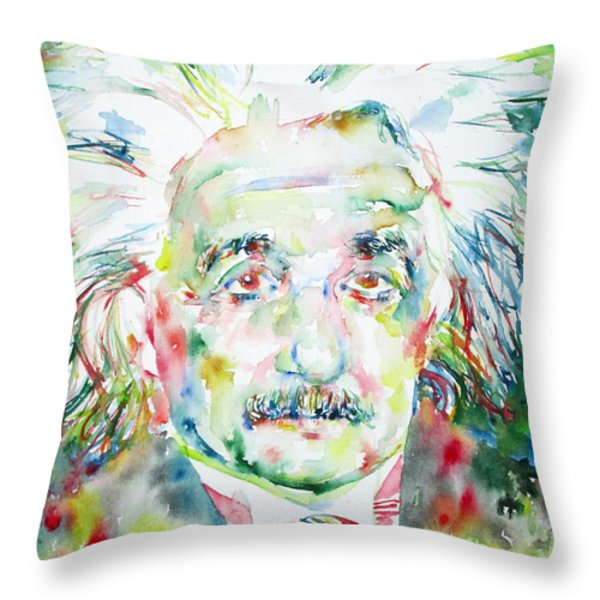 Albert Einstein Watercolor Portrait.1 Throw Pillow by Fabrizio Cassetta