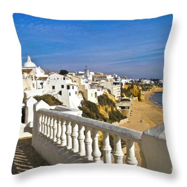 Albufeira Village By The Sea Throw Pillow by Heiko Koehrer-Wagner
