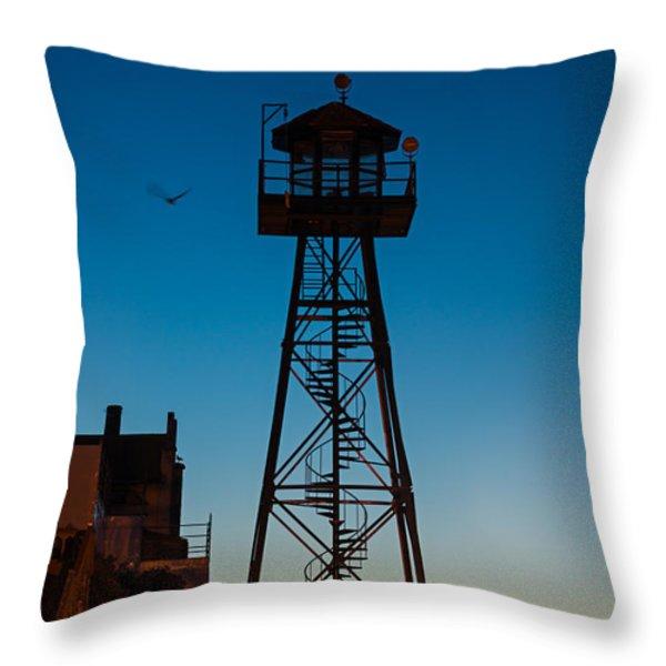 Alcatraz Guard Tower Throw Pillow by Steve Gadomski
