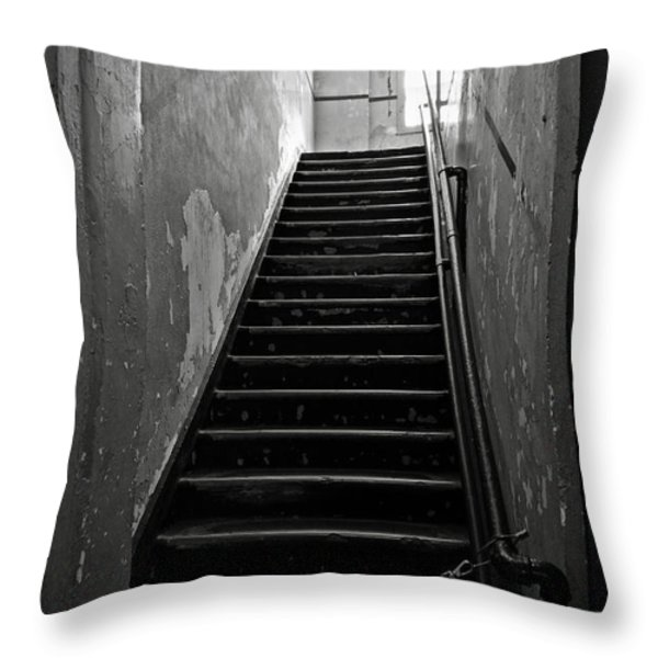 Alcatraz Hospital Stairs Throw Pillow by RicardMN Photography