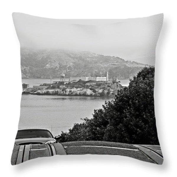 Alcatraz Island From Hyde Street In San Francisco Throw Pillow by RicardMN Photography