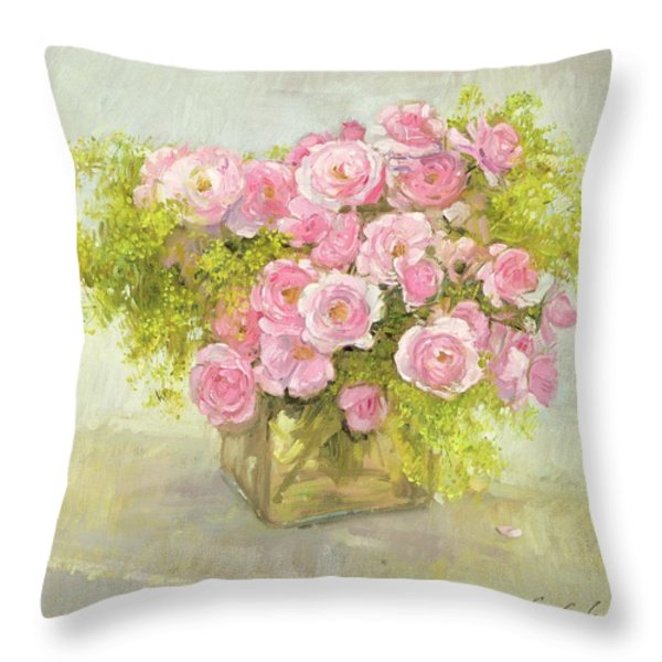 Alchemilla And Roses Throw Pillow by Timothy Easton