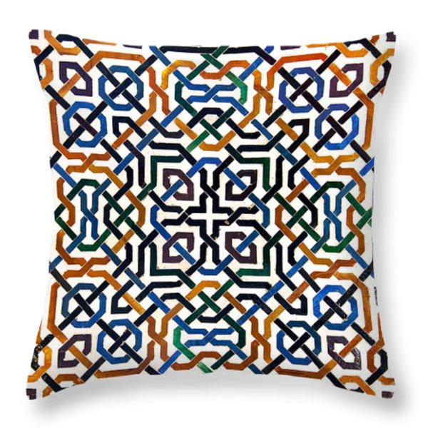 Alhambra tile detail Throw Pillow by Jane Rix