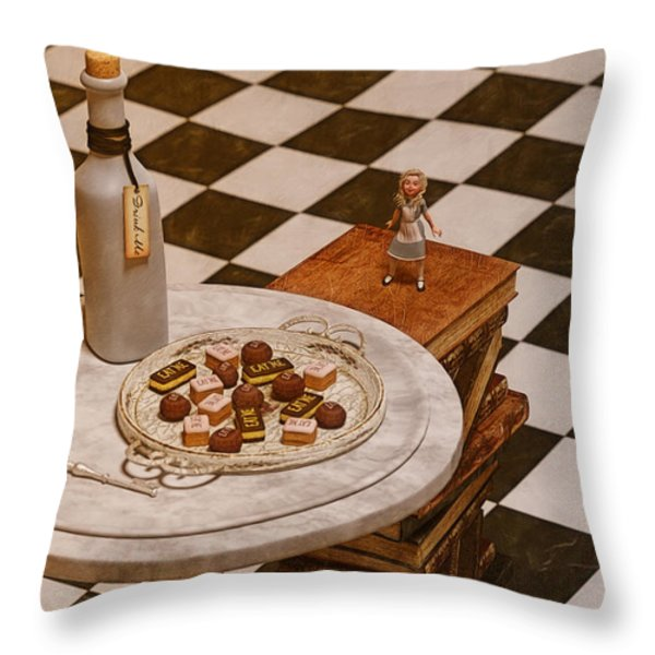 Alice In Wonderland - A Curious Hall Throw Pillow by Liam Liberty