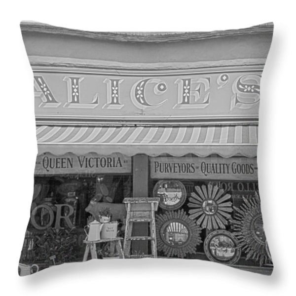 Alice's Antiques In Black And White Throw Pillow by Nomad Art And  Design