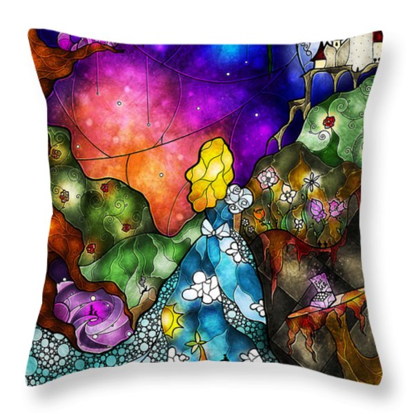 Alice's Wonderland Throw Pillow by Mandie Manzano