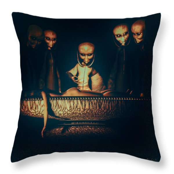Alien Autopsy Alien Abduction Throw Pillow by Bob Orsillo