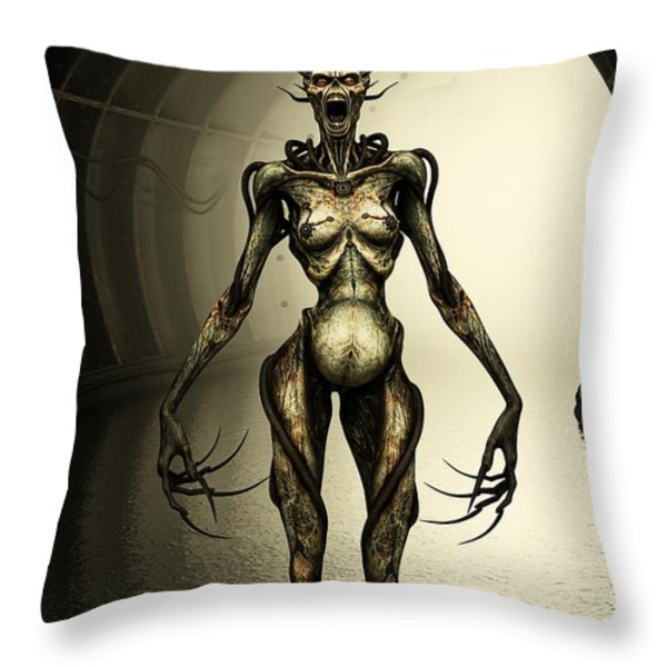 Alien Cyborg Throw Pillow by Liam Liberty