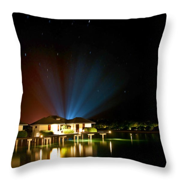 Alien Light At The Tropical Resort Throw Pillow by Jenny Rainbow