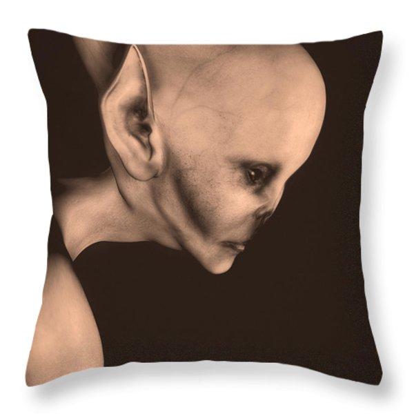 Alien Portrait  Throw Pillow by Bob Orsillo